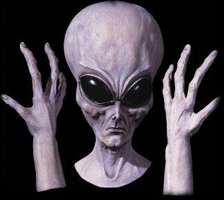 Alien Mask with Glove Hands Halloween Costume