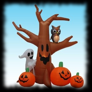Airblown Inflatable Halloween Yard Decoration Spooky Tree, Pumpkins and Ghost