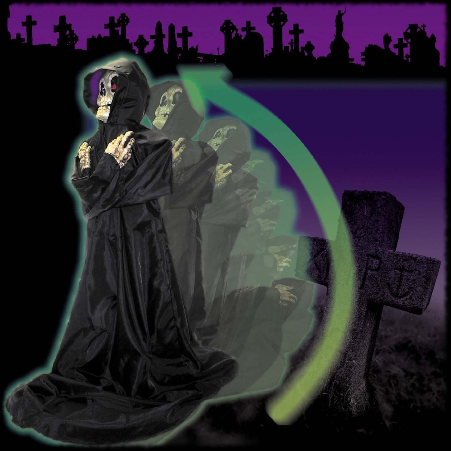 Animatronic Pop Up Rising Grim Reaper Moving Halloween Decoration Graveyard Prop