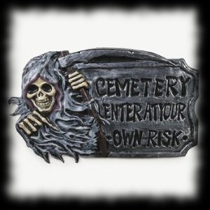 Cemetery Sign with Grim Reaper For Sale