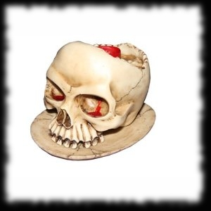 Bleeding Eye Child Skull Candle Holder for Halloween