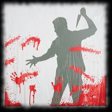 Halloween Haunted House Shower Curtain Man Knife Plays Sound