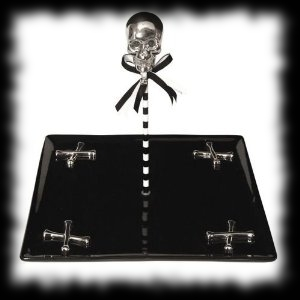 Halloween Treat Serving Tray with Skulls Black