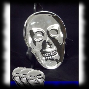 Skull Shaped Silver Party Plates for Halloween Parties