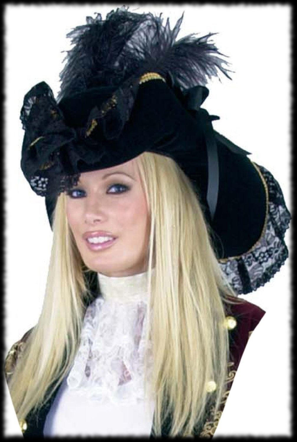 Deluxe Black Feather Pirate Hat For Sale