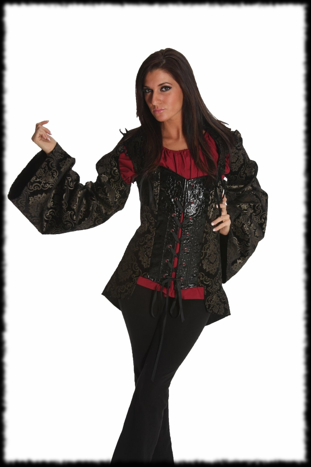 Lady's Deluxe Pirate Halloween Costume Top with Sleaves
