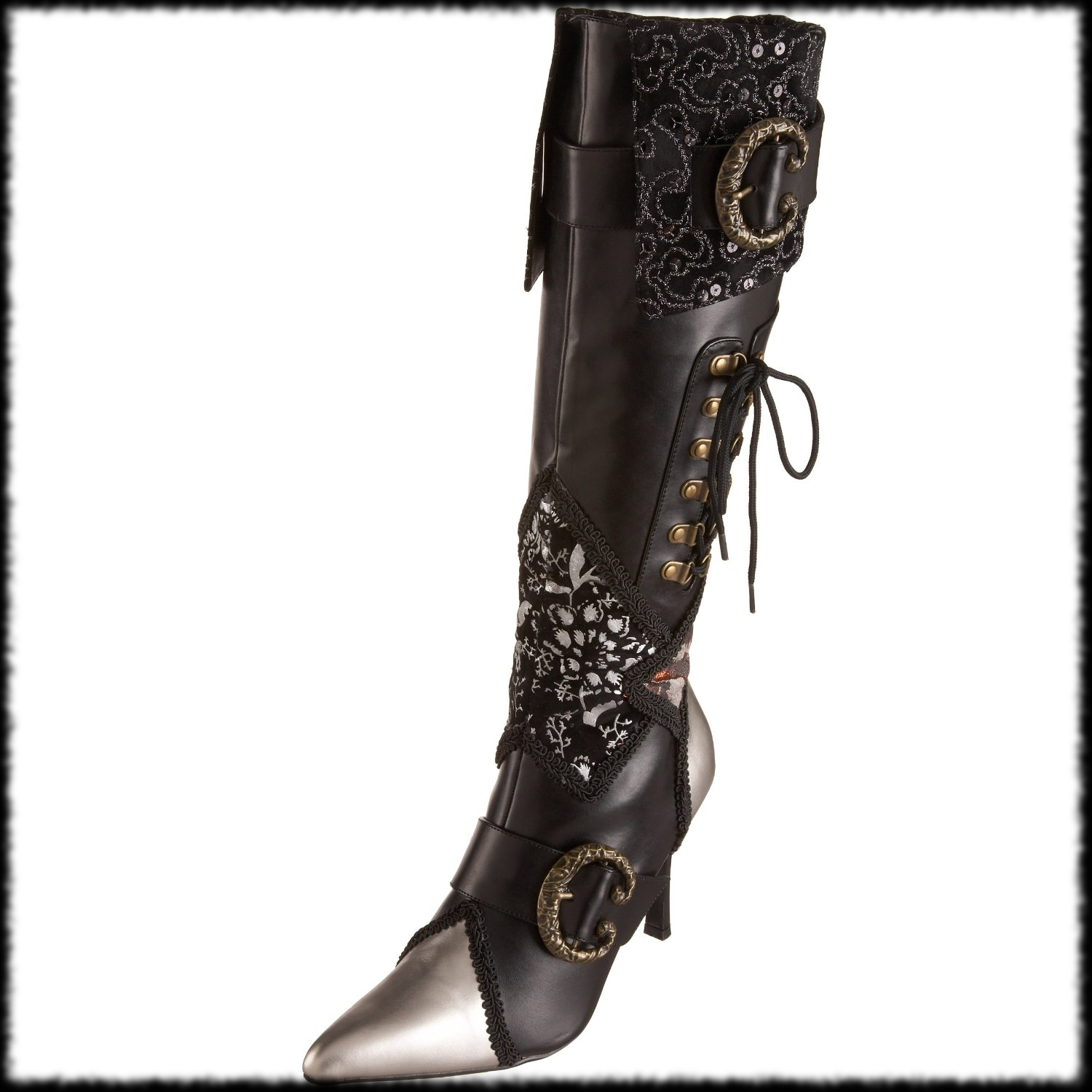 Unique Women Black Leather Style Flat Over Knee Thigh High Pirate Cuff Boots