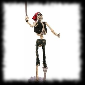 Life Size Standing Pirate Skeleton Halloween Prop