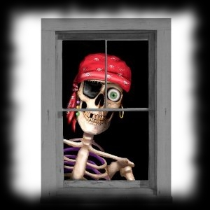 Window Clinge Pirate Skeleton Halloween Decoration