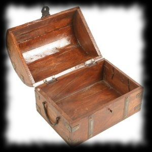 Small Wood Pirate Treasure Chest Halloween Decoration