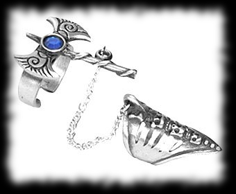 Vampire Slayer Ring Battle Axe Chain Dual Ring
