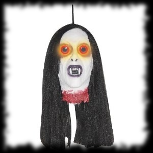 Severed Vampire Head Halloween Prop with LED Eyes