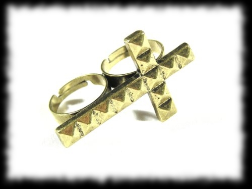 Vampire Hunter Stud Covered Cross Dual Finger Ring Accessory