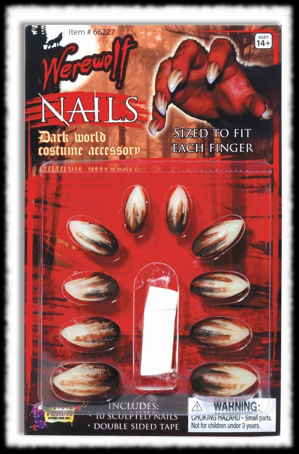 Instant Werewolf Finger Nails Claws Halloween Costume Accessory Idea