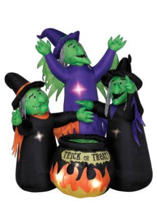 Inflatable Three Witches and Cauldron Halloween Decoration