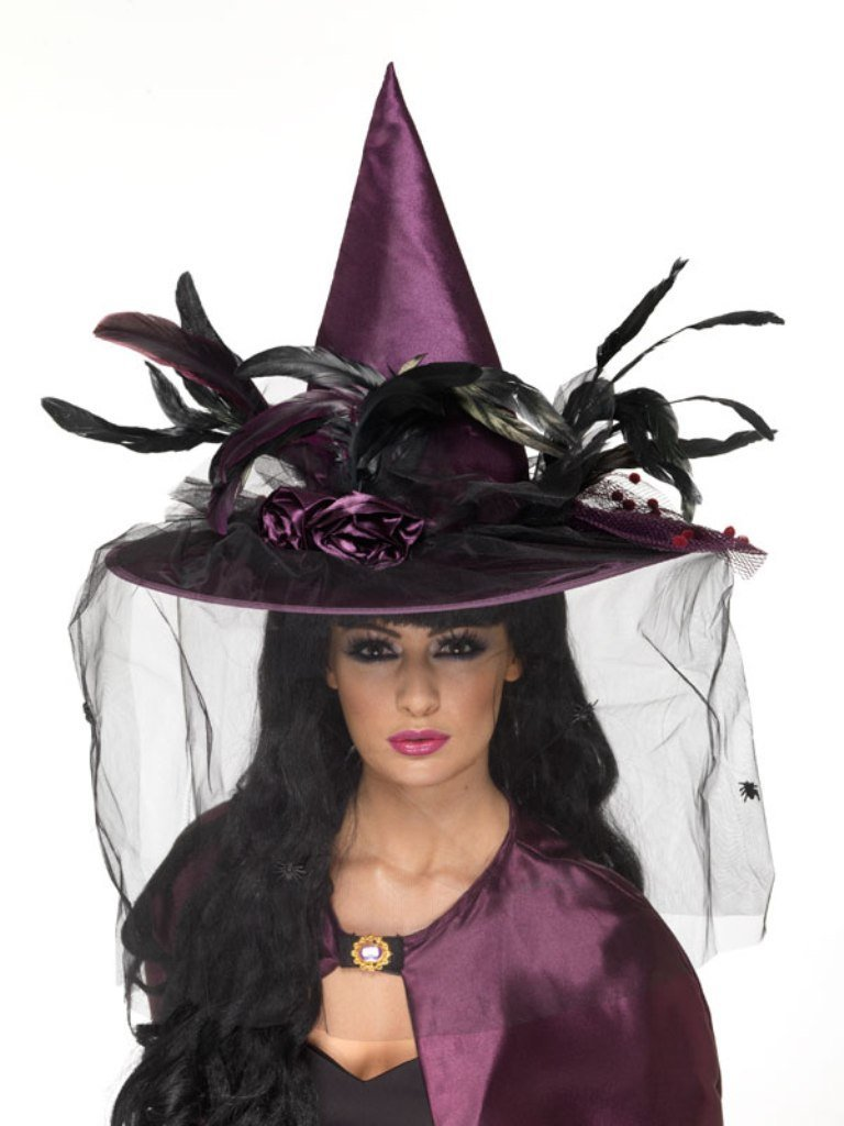 Women's Deluxe Purple Witches Hat with Veil and Feathers