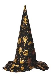 Unique Witches Hat Black with Gold Cats, Stars and Pumpkins