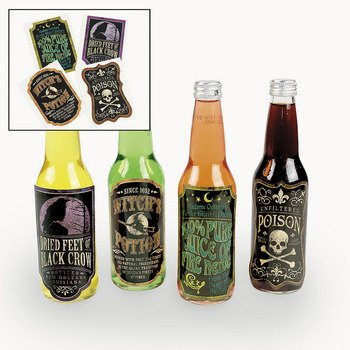 Beer and Soda Bottle Spooky Halloween Lables Idea