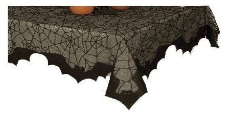 Black Bats and Spider Web Halloween Table Cloth