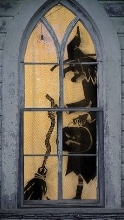 Halloween Witches Window Silhouette Decoration Idea
