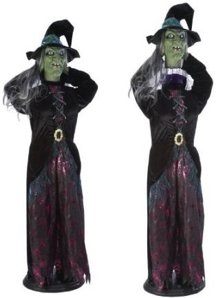 Life Size Head Raising Animated Witch Halloween Decoration
