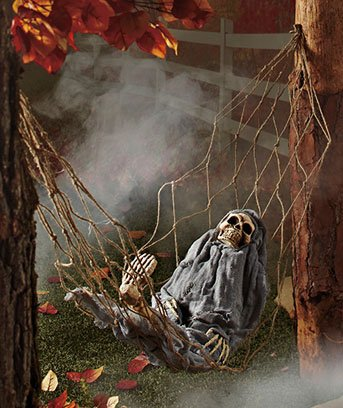 Moving Skeleton In Hammock Halloween Decoration