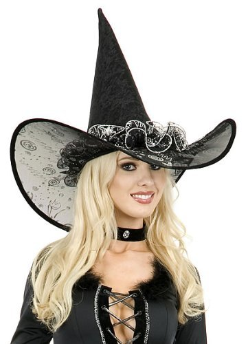 Black and Silver Deluxe Witches Halloween Hat Idea