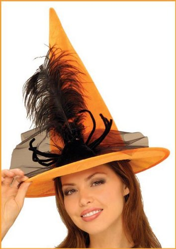 Orange Witches Hat Halloween Costume Accessory