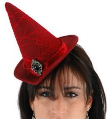 Mini Red Women's Witch Hat Halloween Costume Accessory