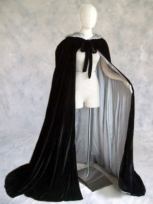 Deluxe Black Velvet Witches Cloak Silver Satin Lined Cape