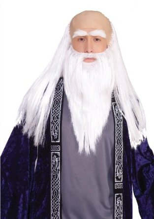 Men's Witch Bald Wig, Beard and Eyebrows Halloween Costume