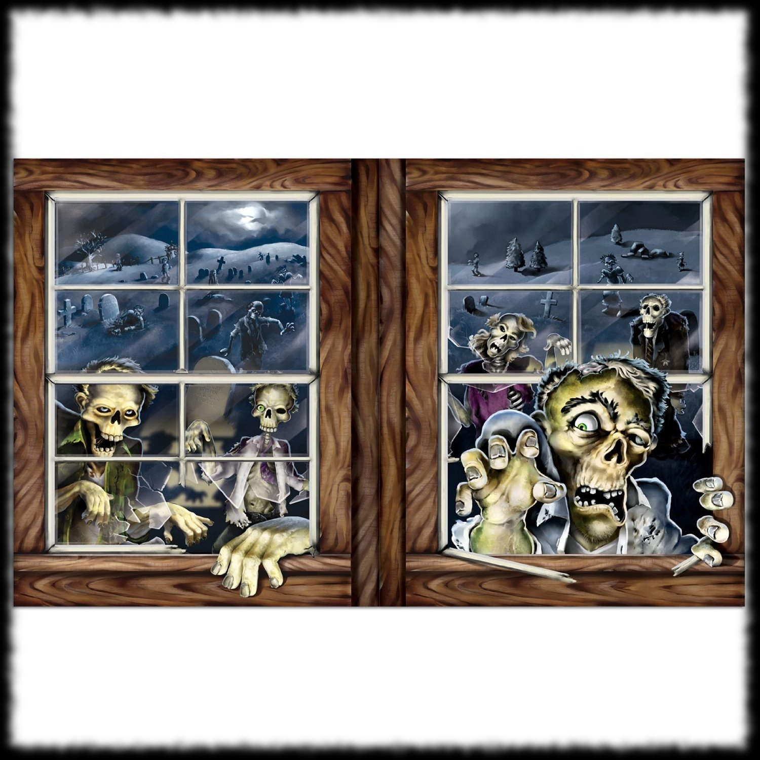 halloween party decoration ideas zombie window clings - Window Clings Halloween