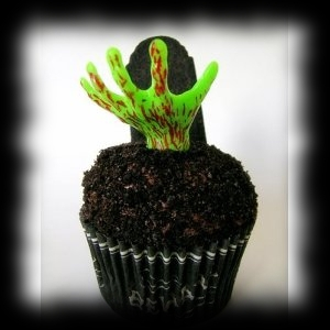 Party Ideas for Halloween Zombie Hand Cupcake Picks